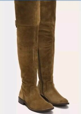933ea67104a New Frye Shirley Suede Riding Boot Over The Knee Trendy Cashew Leather Size  7