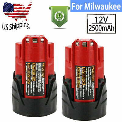2× 2500mAh For Milwaukee For M12 12Volt Lithium Battery XC 48-11-2401 48-11-2411
