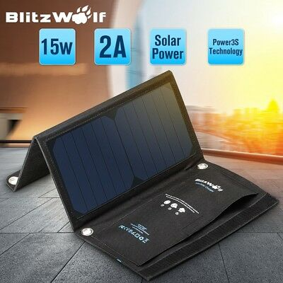 BlitzWolf 15W 2A BW-L2 Folding Portable Dual USB Solar Cell Panel Phone Charger