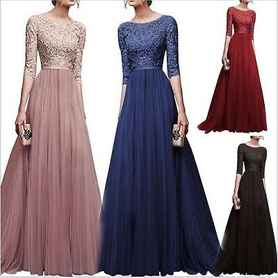 Formal Dress Women Chiffon Bridesmaid Long Maxi Evening Prom Gown Lace Dress Lot
