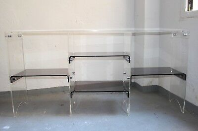 Vintage Spanish Space Age  Clear & Smoked Lucite  Console Table, 1970s