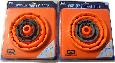 "2 x 15"" COLLAPSIBLE PULL OUT POP UP SAFETY EMERGENCY ACCIDENT TRAFFIC ROAD CONES"