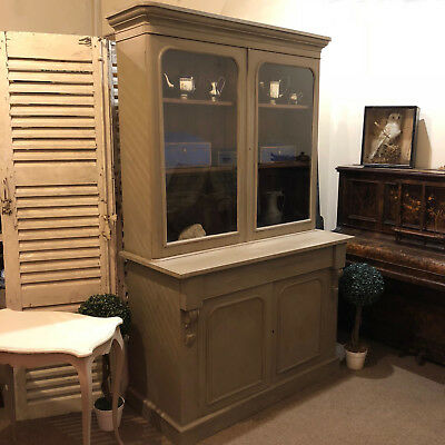 Antique Grey Painted Victorian Country Glass Display Cabinet Bookcase Cupboard