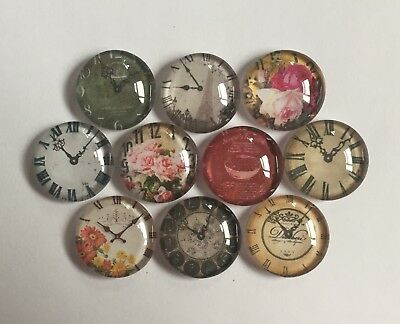 10 Vintage Aged Clock Round Glass Cabochons 20mm Crafts Jewellery Making