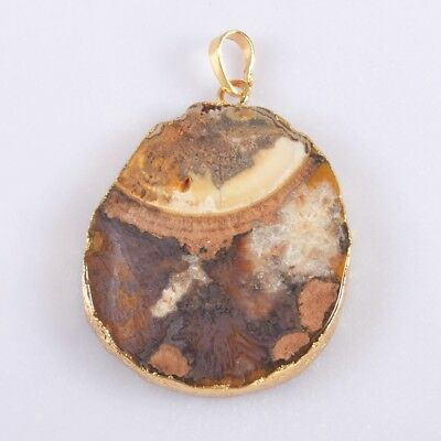 Natural Ocean Druzy Agate Geode Slice Pendant Bead Gold Plated H101976
