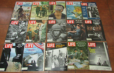 Lot of vintage Life magazines on the Vietnam war from 1965 - 1972 VG very good