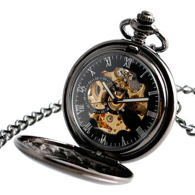 Black Hollow Mechanical Automatic Pocket Watch Classic Pendant Fob Chain Mens