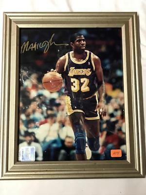 Magic Johnson signed 15x20 cm Framed Picture COA official LA Lakers NBA licensed