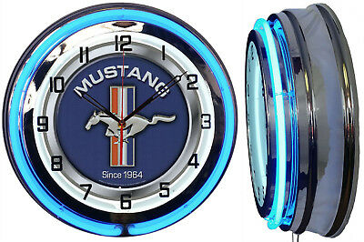 """19"""" Double Neon Clock Ford Mustang Blue Sign Chrome or Carbon Fiber Finish"""