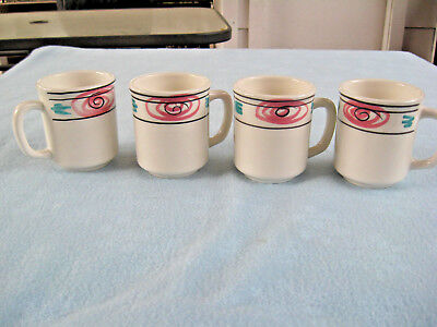 "Set Of 4 Pier 1 Handpainted 4"" Mugs Made In Italy"