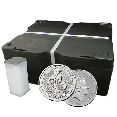 Lot of 200 - 2018 U.K. 5 Pound Silver Queen's Beast The Black Bull of Clarence .
