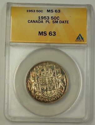 1953 Canada Fifty Cent 50c Silver Coin Small Date ANACS MS-63 PL Proof-Like