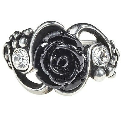 Dionysus Bacchanal Black Rose & Grapes Crystals Pewter Ring Alchemy Gothic R223