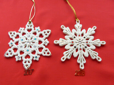 Lenox 2017 and 2018 Annual Gemmed Snowflake Ornament