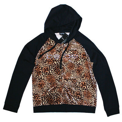 BEBE Cheetah Black Hoodie Sweatshirt Rhinestone Size L New With Tags NWT Sport