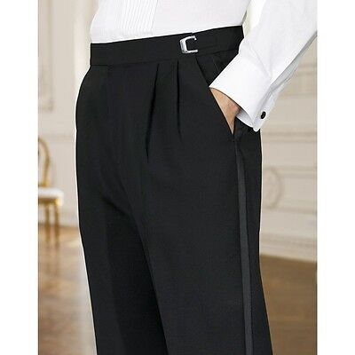 Black 100% Wool Pleated adjustable Waist Satin Stripe Tuxedo Pants