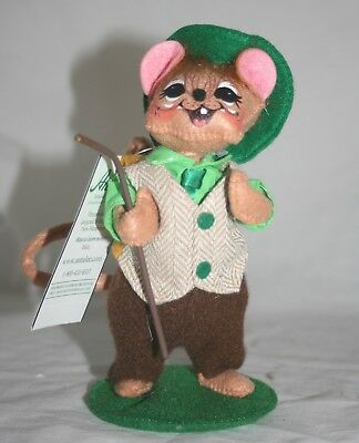"Annalee St. Patrick's Day 6"" Lad Mouse with Walking Stick NWT"