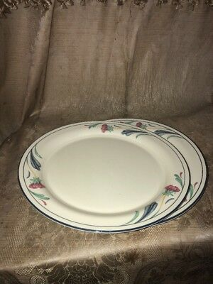 "Lenox Poppies on Blue Lot of 2 Dinner Plates 10.75"" Chinastone Made in USA"