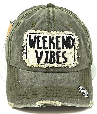 99b6f4b5 WEEKEND VIBES Cap Pigment Washed Distressed Dad Hat Adult OSFM Green NWT