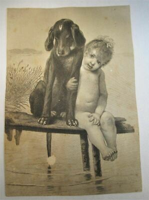 Antique Victorian Trade Card Large 5x7 1880's Black & White Baby w/ Dog C832