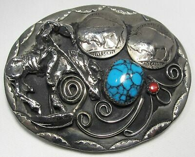 """End of Trail"" Turquoise Coral Buffalo Nickel Belt Buckle C1472"
