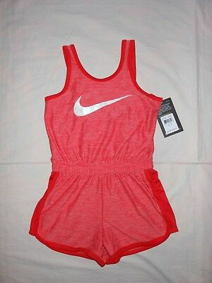 NWT Nike Little Girls bright melon dri-fit romper outfit, Size 4 5 6 6X
