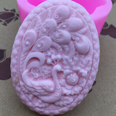 Oval Peacock Soft Silicone Candy Cake Soap Molds Craft DIY Handmade Mould Tool