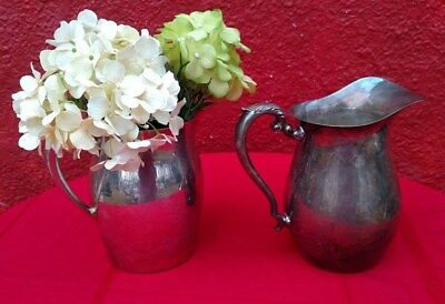 2 Pc Lot Vintage Signed Cresent & Crosby Water Pitcher Jug Silver Plate Metal ✞