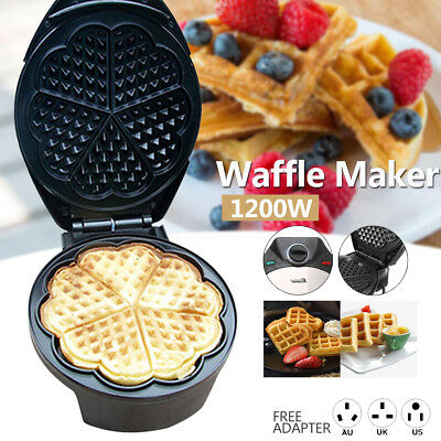 Non-stick Electric Waffle Maker Baker Machine Heart Muffin Kitchen Breakfast DIY