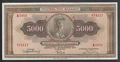 Greece 5000 Drachmai 1932  XF  P. 103,  Banknote, Circulated