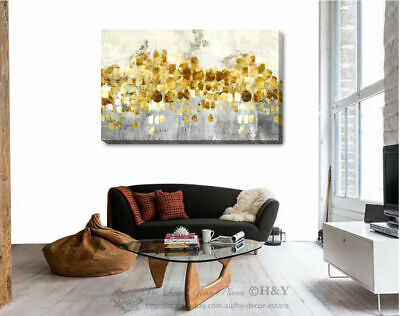Abstract Gray Blue Gold Stretched Canvas Print Framed Wall Art Home Office Decor