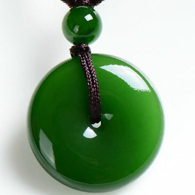 Chinese natural jade carved by hand round jade pendant