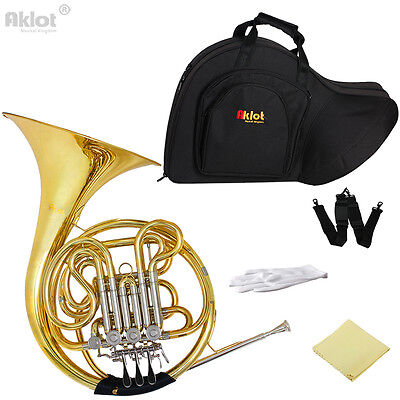 Professional Bb/F 4 Key Double French Horn Cupronickel Tuning Pipe Gold W/Case