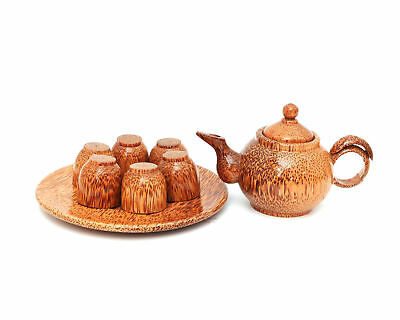 Vietnamese Handcraft Natural Coconut Wood Teapot & Cups Set