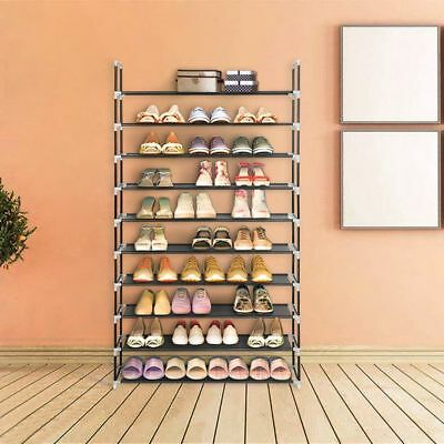 10 Tier 50 Pairs Shoe Storage Rack Stand Organiser Cabinet Shelf Easy  Assemble
