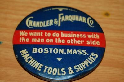 Chandler Farquhar  Boston Ma. Machine Tools Celluloid Paperweight Pocket Mirror