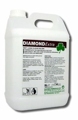 Clover Diamond Extra 5Ltr Floor Polish Wet Look Shine Non-Slip Vinyl Marble