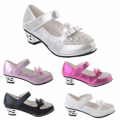 New Girls Kids Childrens Diamante Low Heel Bow Party Wedding Sandals Shoes Size