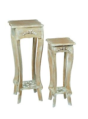 Pair of Bordeaux French Oak Effect Plant Stands / Side Tables / End Units