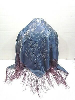 Vintage Piano Shawl Woven Roses Blue With Lavender Fringe