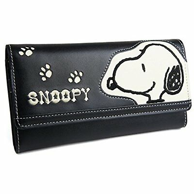 SNOOPY Long Wallet Money Coin Card Case Purse Flap PEANUTS F/S w/Tracking# Japan
