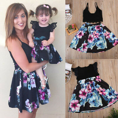 Mutter Tochter Kleid Partnerlook Familie Passend Blumen Partykleid Festkleid Set