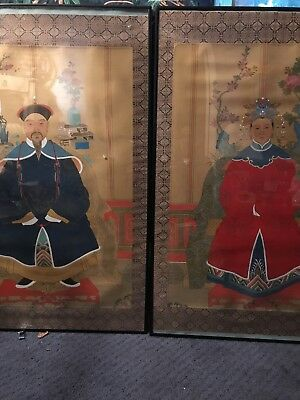 Fine Old Chinese Court Robed Scholar Portrait Ancestor Paintings on Silk