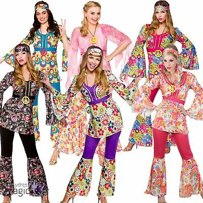 womens ladies 60s 70s retro groovy flare hippie hippy fancy dress