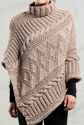 Womans Gansey Style Textured Poncho One Size Chunky Wool -  Knitting Pattern