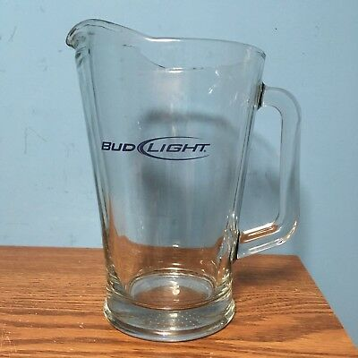 Clear Bud Light Beer Pitcher Restaurant Quality Glass Blue Lettering 64 ounces