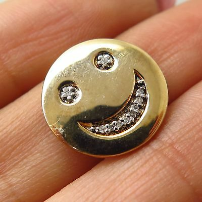 925 Sterling Silver Gold Plated Real Diamond Smiley Face Slide Pendant