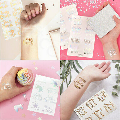 Rose Gold Iridescent Temporary Removable Tattoo Stickers Hen Night Wedding Party