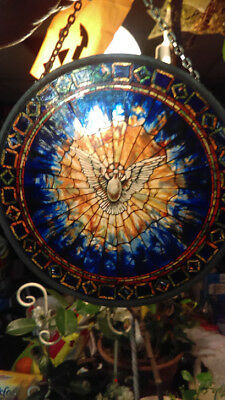"""CHRISTIAN GIFT --Glassmasters  """"The Holy Spirit"""" Round Stained Glass Panel"""