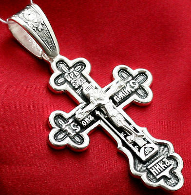 Big Russian Greek Orthodox Icon Cross,silver 925. Prayer Save And Protect. Sale